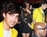 Nick Jonas, Joe Jonas with new girlfriend Blanda Eggenschwiler and Kevin Jonas and wife Danielle Deleasa seen leaving together from the Katsuya restaurant in Hollywood