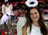 Born to ride: Jessica Springsteen is a horse-riding angel at costumed competition in France