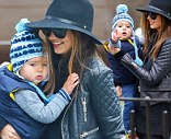 Miranda Kerr takes baby Flynn Bloom to the park in New York City for an afternoon of fun