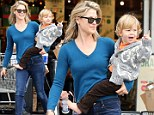 Forget something? Ali Larter totes her barefoot boy to Whole Foods... and no wonder he doesn't kick up a fuss