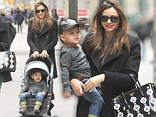 Miranda Kerr and son Flynn step out in New York with her Prada bag