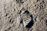 Neil Armstrong's footprint on the moon as the first human to set foot on the lunar surface as a member of the Apollo 11 crew.
