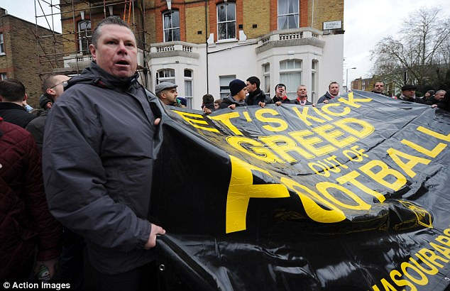 Mutiny: Fans have started the Black Scarf Movement to make their feelings known over the way the club is being run