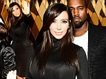 Kim Kardashian's curves are undercover as she slips into unflattering bulky high-necked dress at party with Kanye