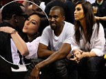 Fancy seeing you here! Kanye West and Kim Kardashian run into P. Diddy while watching the Knicks in Miami