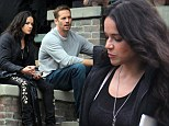 Just one of the guys! Michelle Rodriguez hangs out with all-male cast on set of The Fast and the Furious 6