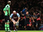Dismay: Shelvey and Jussi Jaaskelainen are stunned while Shelvey and Raheem Sterling celebrate the winner