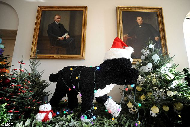 He's a Star: A replica of the first family dog, Bo, is part of the White House holiday decorations