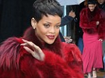 Making a statement: Rihanna left a studio in Paris, France on Monday