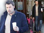 Daddy's on duty! Ben Affleck leads Seraphina by the hand... for some caffeine recharging at Brentwood Country Mart