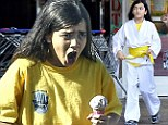 I scream for ice-cream! Blanket Jackson larks around as he enjoys a sweet treat after karate class
