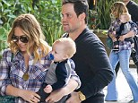 Hilary Duff arrives at the Four Seasons Hotel with husband Mike Comrie and baby Luca for a nice family brunch