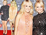 Carrie Underwood lights up American Country Awards in shimmering Flapper dress... but Miranda Lambert hits a low note in unflattering frock