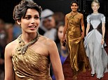 Showing their metal: Frieda Pinto wows in glamorous gold as Cate Blanchett cuts a stylish figure in silver at Dubai film festival