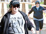 Leaving pounds in her dust: Rebel Wilson works up a sweat on long hike