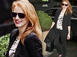 Understated chic: Jessica Chastain rocks red lip and black blazer on her way to matinee