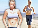 Killer abs! Kendra Wilkinson displays her washboard tummy as she does a gruelling workout at the beach