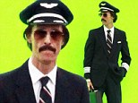 All dressed up and nowhere to go! Matthew McConaughey suits up in pilot uniform... to film scene in front of green screen