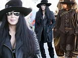 All for one and one for all! Cher prepares to leave LA wearing a musketeer inspired hat and boots