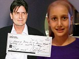 Pictured: The 10-year-old cancer patient who inspired bad boy Charlie Sheen to donate $75,000 to help her fight for life