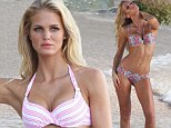 Another hour, another (two) bikinis! Erin Heatherton has her pick of tiny two-pieces as she continues Victoria's Secret swimwear shoot