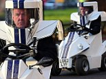 Jeremy Clarkson drives round in futuristic car