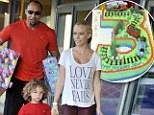 Three's the charm! Kendra Wilkinson and husband Hank Baskett all smiles as they celebrate son Hank Jr.'s third birthday