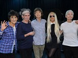 The Lady and the Stones: Gaga poses up with Ronnie Wood, Keith Richards, Mick Jagger and Charlie Watts ahead of her joining them on stage for their final anniversary performance on Saturday night