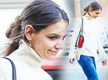 Fashion blunder! Katie Holmes misfires in creased flares and dowdy jumper... just a day after wowing at Sandy relief concert