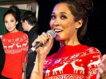 Myleene Klass gets into the Christmas spirit in reindeer jumper... but the baggy top does little to conceal her slender frame
