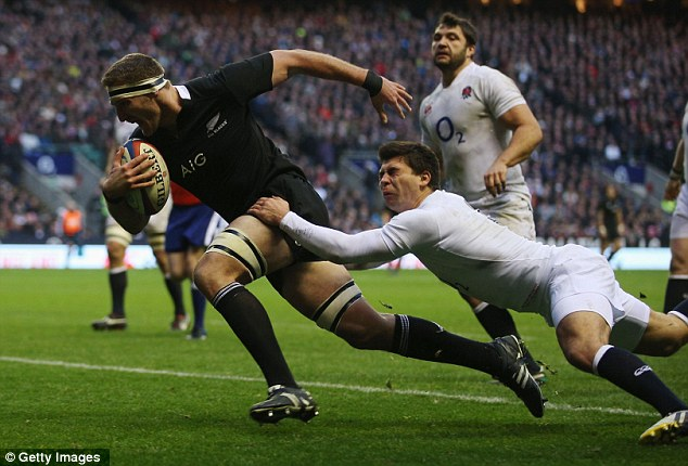 Setting nerves jangling: Kieran Read went on the charge for the All Blacks' second try