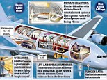 The £240million private jet has a Turkish bath, boardroom and concert hall
