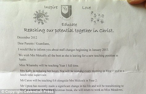 The letter sent to the parents by the school informing them of the change. The message was buried at the bottom of a section of 'staff changes'