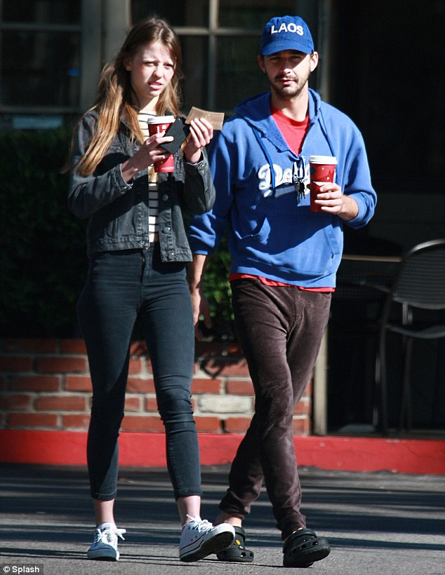 Moving on: Shia LaBeouf is reportedly dating Nymphomaniac co-star Mia Goth, pictured here with the actor last Wednesday, after recently splitting with girlfriend Karolyn Pho