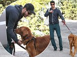 Dog day afternoon! Andrew Garfield bonds with canine companion... on solo stroll in Los Angeles