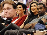 Seat warmer: Bruce Jenner was forced out of the front row when Kim and Kanye made a late entrance