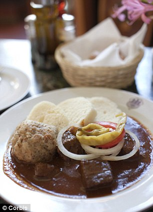 Typical Czech meal of Beef Gaulash and dumplings