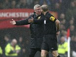 Angry protests: Sir Alex Ferguson remonstrates with referee Mike Dean after Jonny Evans put through his own net with Newcastle's Papiss Cisse apparently in an offside position during the Boxing Day match at Old Trafford