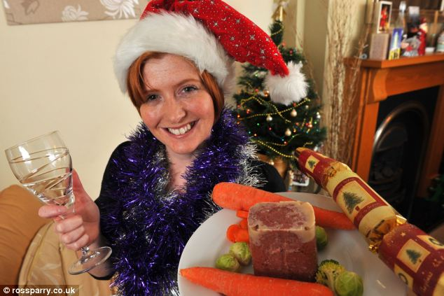 Christmas cheer: Becky always has to pick the most bland dish on the menu when she goes out for festive dinners