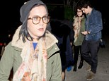 Feeling comfortable already: Katy Perry dresses down in beanie and geeky glasses for dinner date with John Mayer
