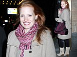 Purple phase! Jessica Chastain is vivacious in violet in New York