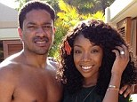 Gargantuan rock: Brandy Norwood showed off her engagement ring in Hawaii