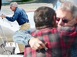 The flying dad taxi! Harrison Ford jets his son to Los Angeles before heading back to festive retreat