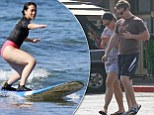 Social network: Mark Zuckerberg, who is celebrating his first Christmas with wife Priscilla Chan, laughed and joked during private surfing lessons on the island of Maui