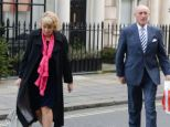 Third time lucky! Len Goodman and Sue Barrett arrive for their surprise wedding at Mosimann's in London