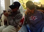 Back together again: Robin Roberts tweeted this picture with her dog K.J. who she was reunited with on Saturday after a 100-day separation following her bone marrow transplant