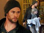 Happy families: Chris Hemsworth and wife Elsa Pataky enjoy family meal with cute daughter India Rose