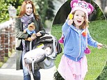 Alyson Hannigan takes a sunny stroll with baby Keeva and Muppets fan Satyana