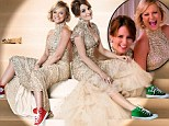 Comfortably glam! Tina Fey and Amy Poehler pair glittering gowns with Converse shoes... in new Golden Globes promo