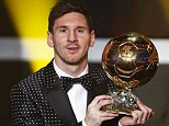 Top of the world: Lionel Messi scooped a fourth consecutive Ballon d'Or trophy last night, receiving 41.6 per cent of the votes from international coaches, captain and journalists